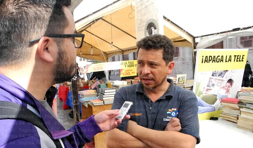 César Gómez Diz, presidente de la Asociación de Libreros de Aguascalientes (Foto: Juan Carlos Gómez)