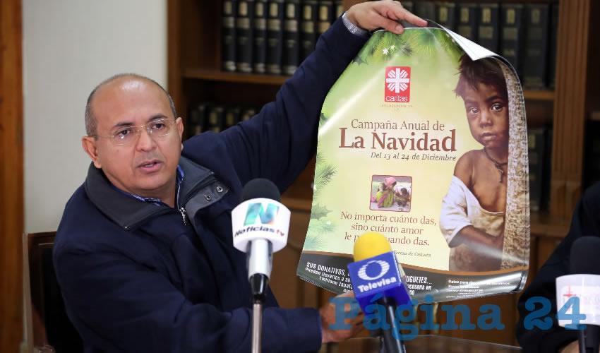 Juan Carlos García Zavala, coordinador de Cáritas Aguascalientes (Foto: Eddylberto Luévano Santillán)
