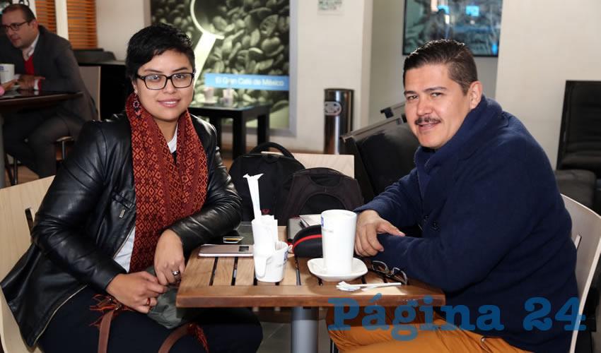 En Café Punta del Cielo departieron Mariana Ávila Montejano, coordinadora del Observatorio de Violencia Social y de Género de Aguascalientes; y Wilfrido Salazar Rule