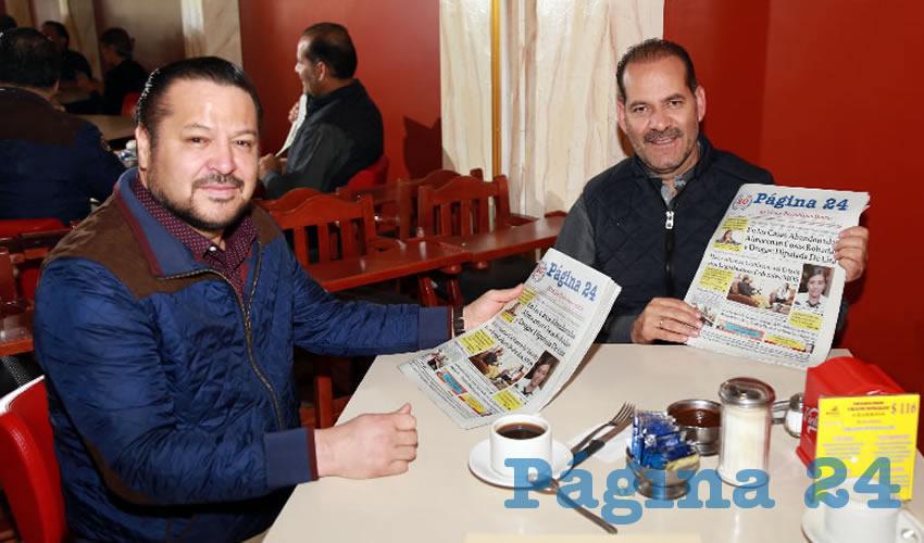 En el restaurante Mitla almorzaron Fernando Herrera Ávila, senador de la República, y Martín Orozco Sandoval, gobernador constitucional del Estado de Aguascalientes