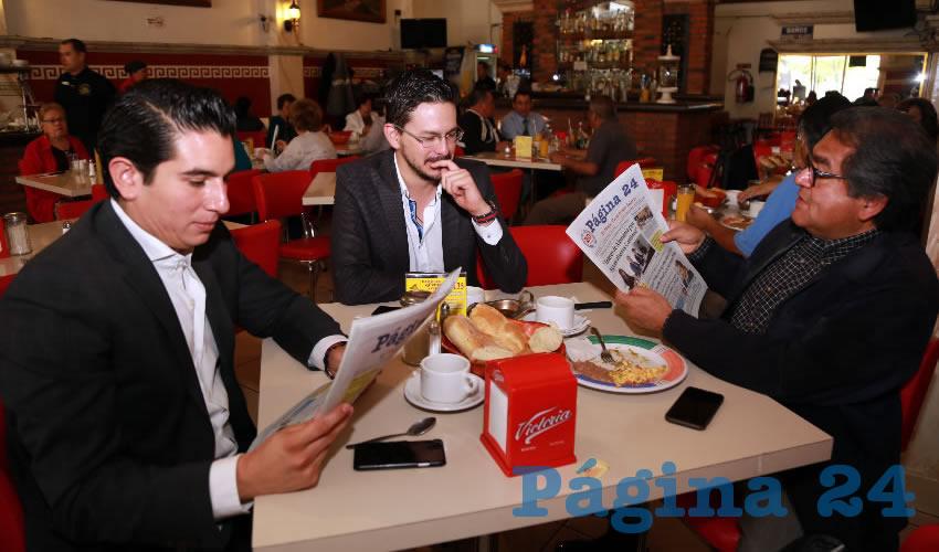 En el restaurante Mitla almorzaron Guillermo Reed Frausto, Jaime Mercado e Ignacio Ruelas Olvera, presidente del Consejo Local del INE