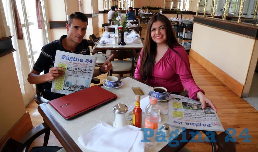 En Sanborns Francia departieron Óscar Edén Flores y Flavia Saavedra, emprendedores de Aguascalientes