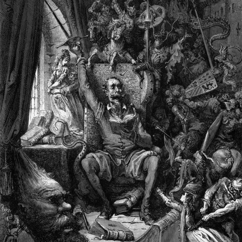 Don Quijote de la Mancha, litografía de Gustavo Doré