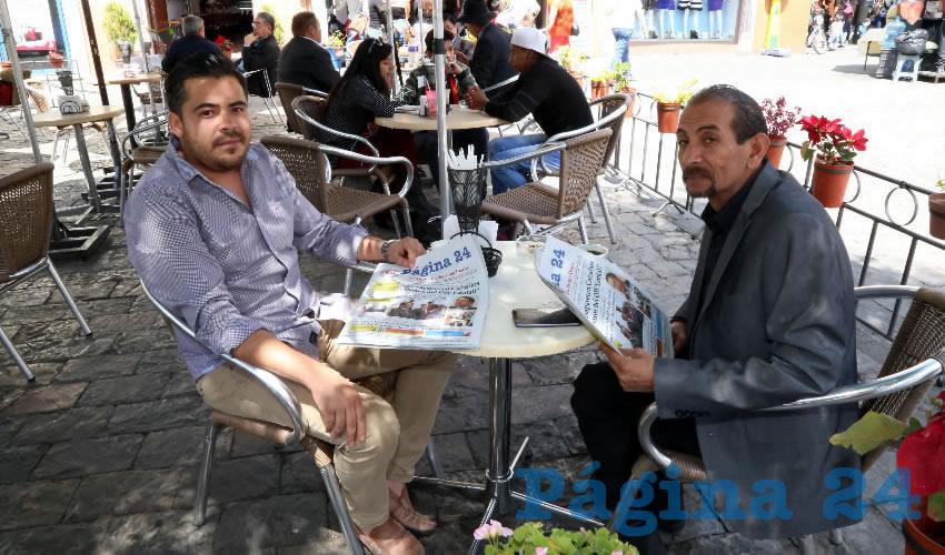 En Café Catedral departieron Gilberto Gutiérrez Lara, consejero nacional de Morena, y Ricardo Barba Parra