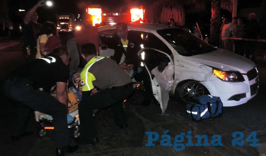 Tres de las cuatro víctimas se trasladaban en este vehículo Chevrolet Aveo