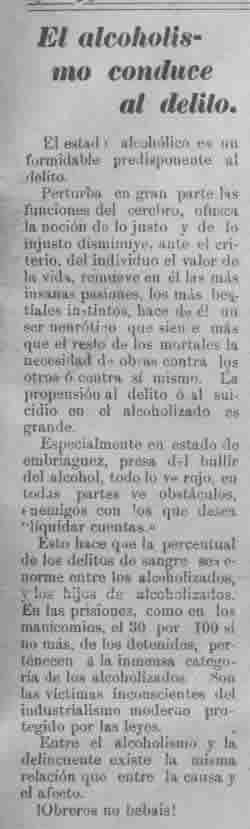 Nota de La Voz de Aguascalientes, 9 de julio de 1909