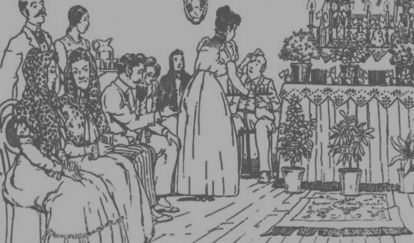 """Las personas rezaban y socializaban ante el altar en los """"incendios"""" del viernes de Dolores, aunque cuando se salían de control para la Iglesia eran lugares """"donde se enciende con la ira, la gula, la trasgresión del precepto de ayuno, el incendio de la carne para depravadas operaciones""""; imagen tomada de la revista Arqueología Mexicana, Vol. XV-Núm. 90"""
