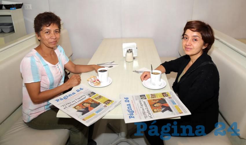 En el restaurante Del Centro compartieron el primer alimento del día Patricia Delgado de Luna y Carolina Palacio Medina