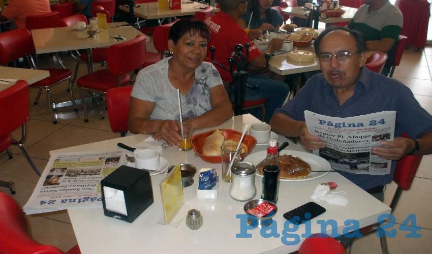 Rita Torres y Antonio Reyes López almorzaron en el restaurante Mitla