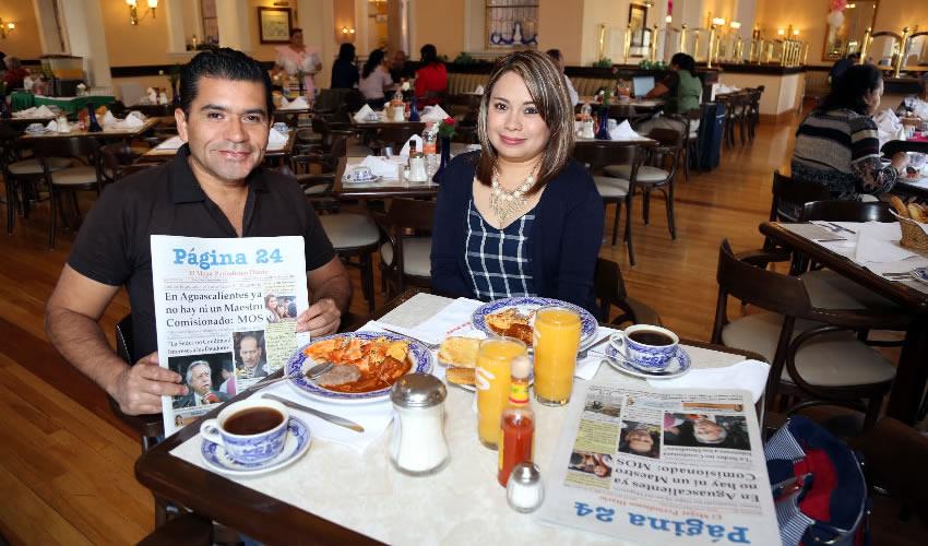 En Sanborns Francia compartieron el pan y la sal César Alejandro Hernández Salazar y Gloria Ortega Delgado
