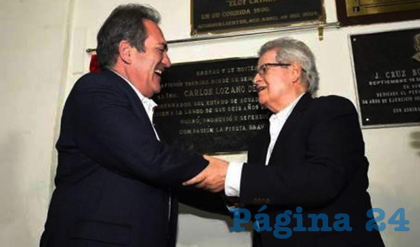 """Carlos Lozano de la Torre y Agustín Morales Padilla ...los """"sagrados compadres"""" a risa y risa..."""