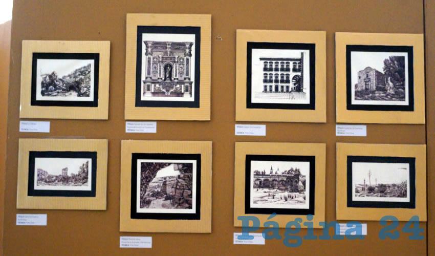 La exposición está compuesta de obras en pequeño formato, que por medio de la tinta china, dibuja edificaciones arquitectónicas históricas y con un gran simbolismo representativo de la ciudad de Zacatecas y del estado (Foto Merari Martínez Castro)