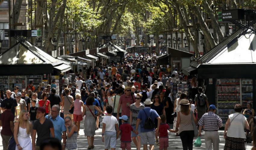 Zona turística de las Ramblas, en Barcelona, antes del atentado (Foto: Prensa Latina)