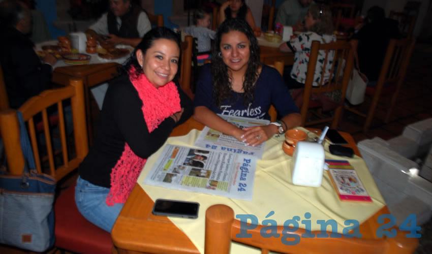 En el restaurante La Mestiza, almorzaron Aidé Cervantes Ramírez y Lupita Camarillo Ledesma, visitantes del estado de Morelos y Tlaxcala, respectivamente