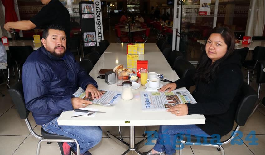 En el restaurante Mitla desayunaron Ismael Gutiérrez Valenzuela y Mariana Guillén Díaz