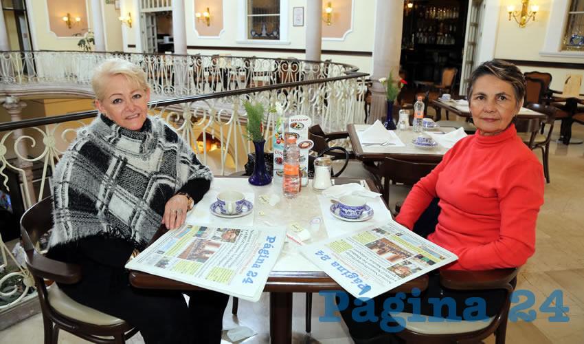 Margarita Sánchez de Pizarro y Blanca Estela Luna de Campos compartieron el primer alimento de la mañana en Sanborns Francia