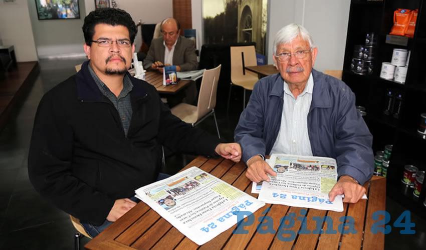 En Café Punta del Cielo departieron Leonardo Bañuelos Solís Delgado y Manuel de Jesús Bañuelos Hernández, representante propietario de Morena ante el IEE