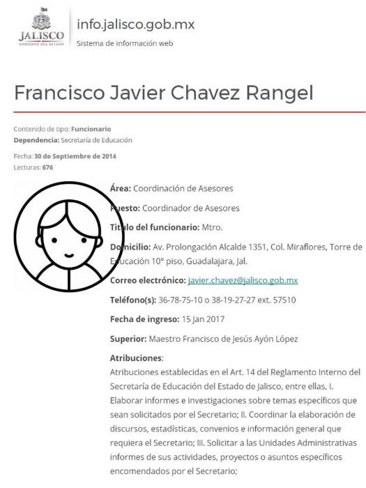 """Organigrama donde consta que """"El Chato"""" cobra en Jalisco como """"Coordinador de Asesores"""", en el vecino estado"""