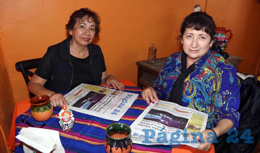 En El Mercadito Gastronómico Colón compartieron el primer alimento del día Maricela Vergara Vargas y Tere Patiño Zavala