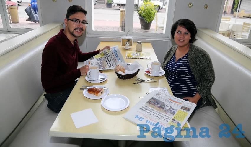 Jaime Esparza González y Quendy Recinos Mendoza compartieron el pan y la sal en el restaurante Del Centro