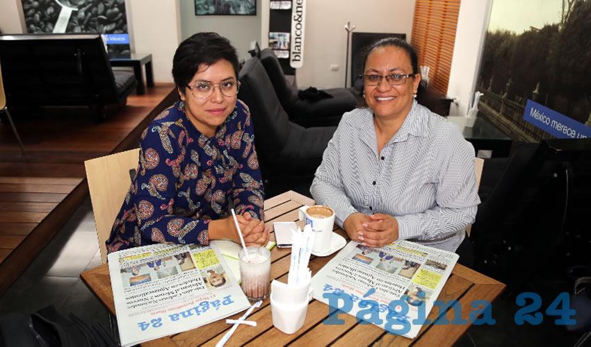 En Café Punta del Cielo departieron Mariana Ávila Montejano, coordinadora del Observatorio de Violencia Social y de Género de Aguascalientes; y Yadira Torres Correón