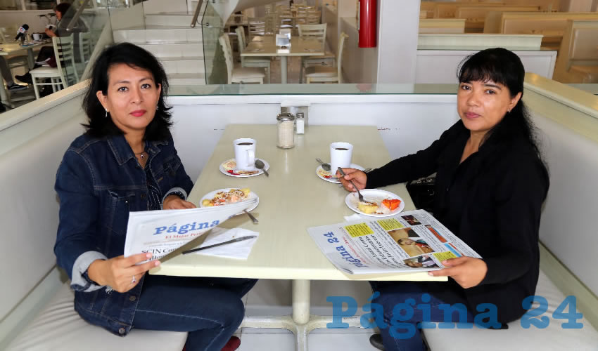 En el restaurante Del Centro almorzaron Esther Goytia Cabañas y Silvia Gutiérrez Godínez