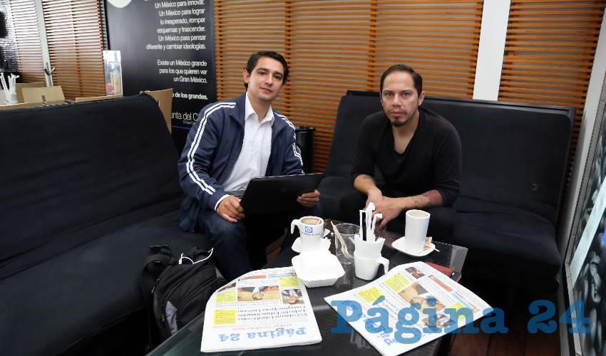 En Café Punta del Cielo departieron los emprendedores Óscar Ramos Castellanos y Alan Pedroza Hernández