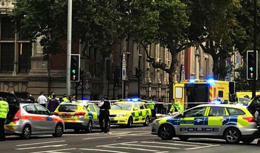 Londres, Reino Unido.- Policías montan guardia cerca del Museo de Historia Natural después que un automóvil arrolló a transeúntes (Foto: Han Yan/ Xinhua)