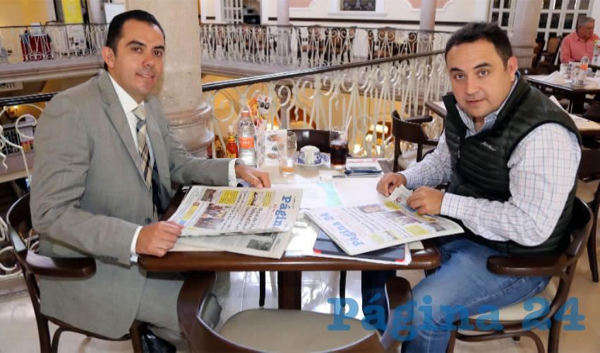En Sanborns Francia almorzaron Manuel Alejandro González Martínez, secretario de Desarrollo Rural y Agroempresarial; y Antonio Martín del Campo Márquez