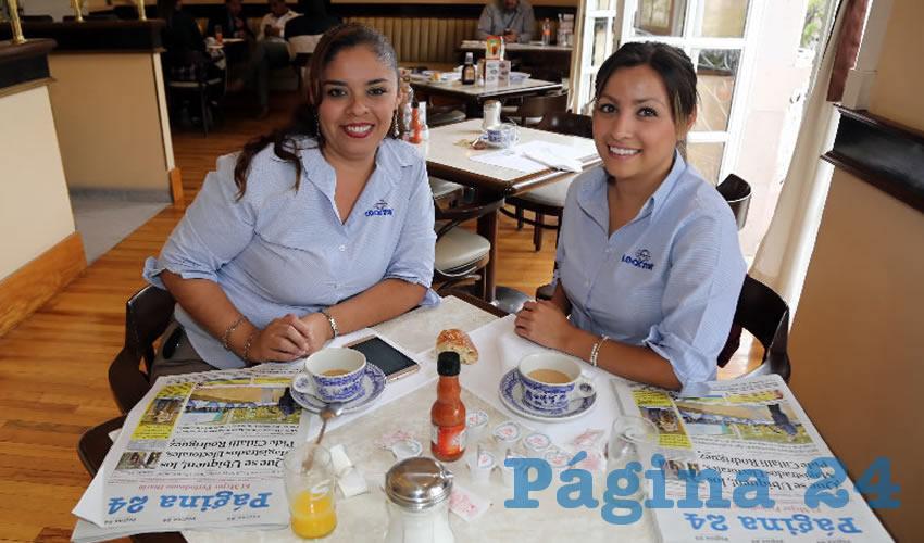 En Sanborns Francia compartieron el pan y la sal Carolina Nieves Morales y Mónica Ortega López