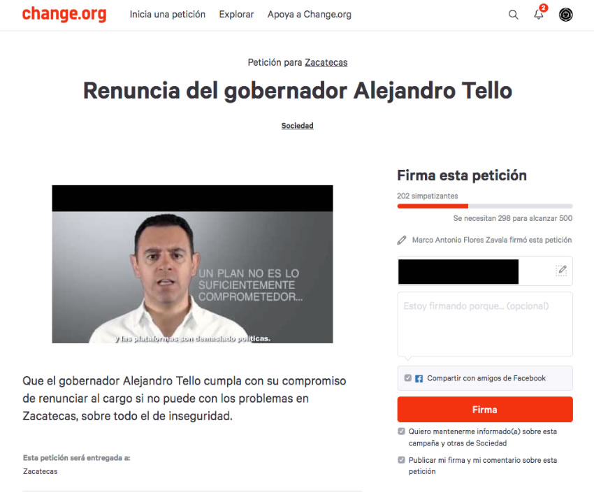 Zacatecanos Firman Petición en charge.org Para que Renuncie Tello