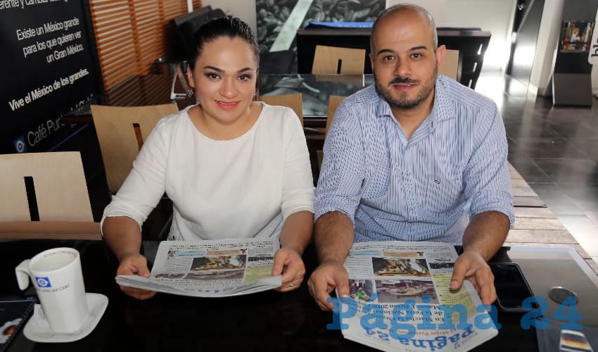 En Café Punta del Cielo departieron Lilia Gómez Rodríguez y Marco Polo López Castro