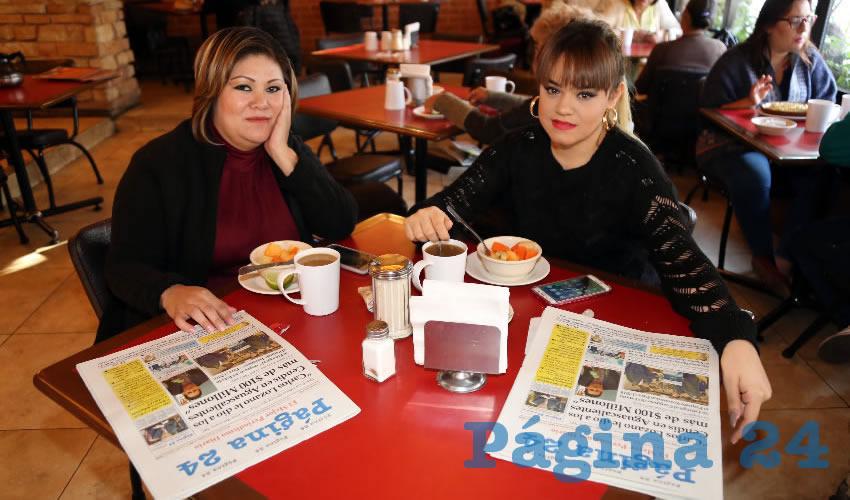 En Las Antorchas almorzaron Maricela Montes Guzmán y Jéssica Farías Arellano