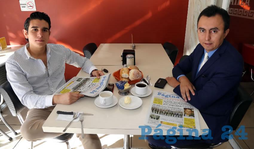 En el restaurante Mitla desayunaron Guillermo Reed Frausto y Alan Capetillo Salas, abogado