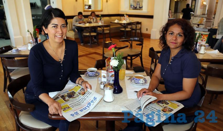 En Sanborns Francia desayunaron Sandra Reyes Licona y María del Lourdes Lira Ramos