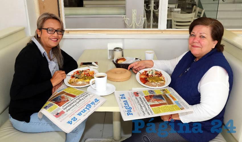 Desayunaron en el restaurante Del Centro Johana Pérez y Lucy Bailón Quezada