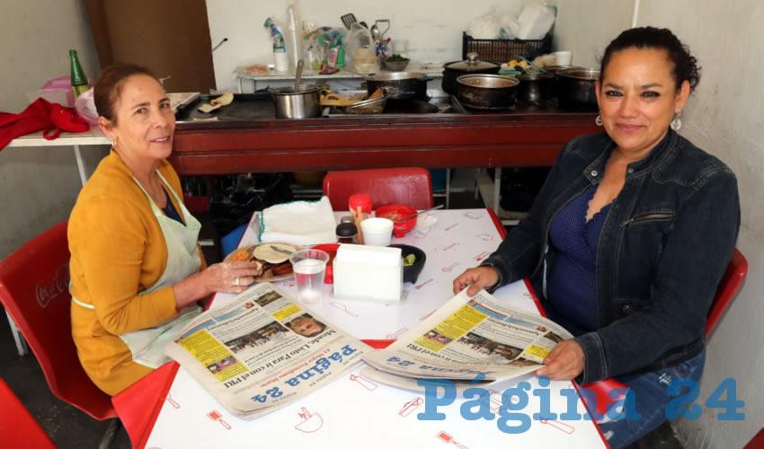 En Gorditas Lety almorzaron Lupita Esparza Rodríguez y Sandra Patricia Veloz Barrientos