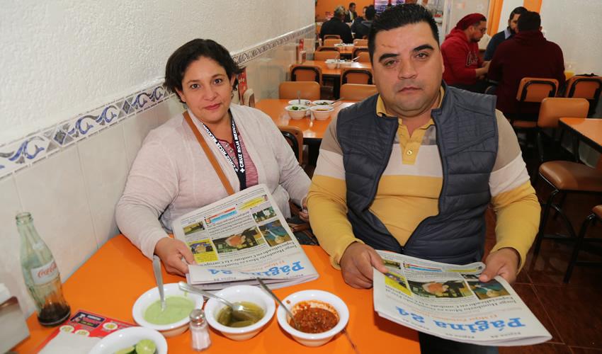 En Carnitas Chanoy compartieron el pan y la sal Martha Villalpando Contreras y Jesús León Serrano