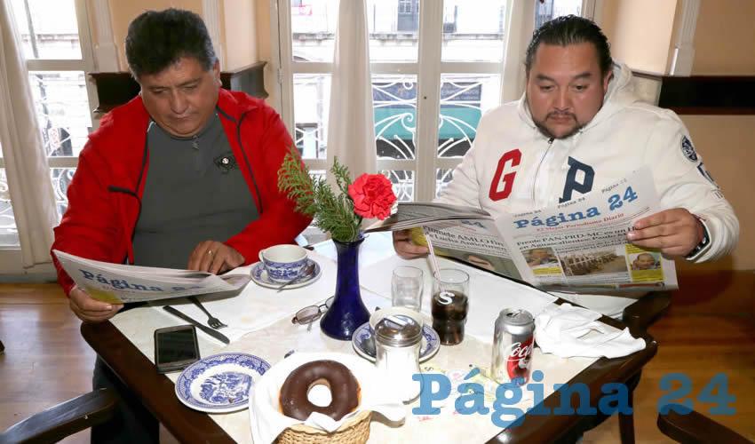 En el restaurante del Hotel Quality Inn platicaron Miriam Denis Ibarra Rangel, secretaria general del PRI; y Miguel Ángel Juárez Frías