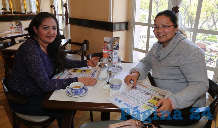En Sanborns Francia compartieron el pan y la sal Lucila Cruz Macías y Cinthia Esquivel Correa