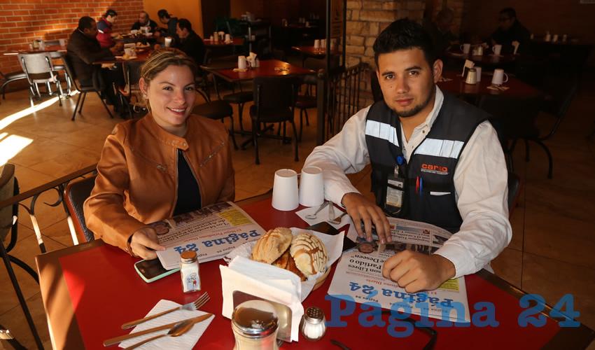 En Las Antorchas almorzaron Luz del Carmen Portillo Suárez y Ángel Jaziel Cota Rodríguez