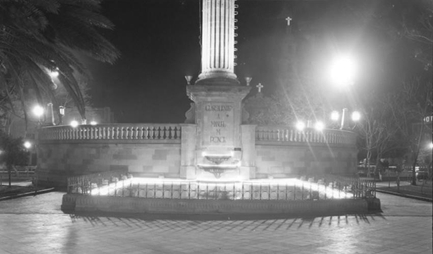 Fontana Manuel M. Ponce en la Plaza Principal de Aguascalientes. Fuente: AHEA, Fondo Antonio de Luna.