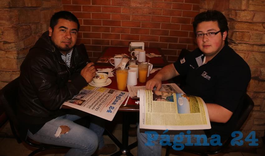 En Las Antorchas almorzaron Enrique Cruz Hernández y Cid Albert Pérez Gutiérrez