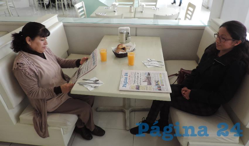 Tere Delgado y Nancy Gaytán almorzaron en el restaurante Del Centro