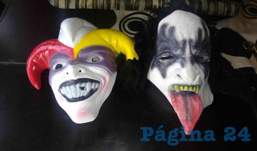 Las máscaras que usaban para cometer los robos los cacos Édgar Iván y Luis Humberto