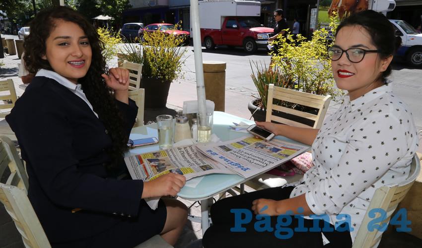 Andrea Muñoz Juárez y Sandra Montoya Torres compartieron el pan y la sal en el restaurante Del Centro