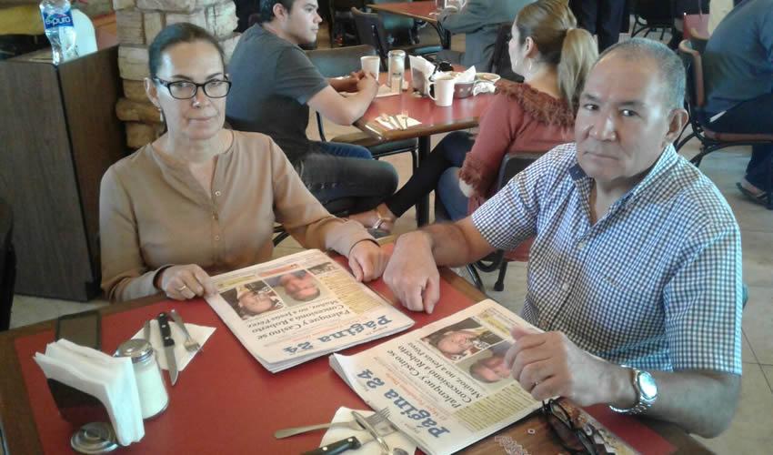 En el restaurante Las Antorchas desayunaron Delia Ibarra y César Jiménez