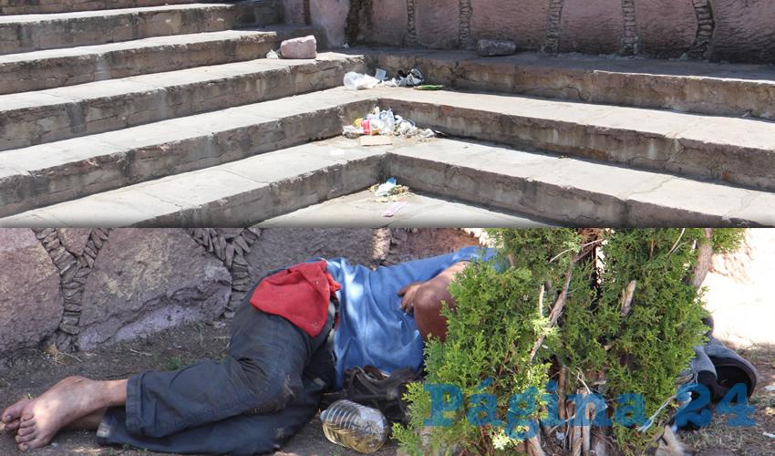 Otra queja es el aumento de personas indigentes que se encuentran en las calles de Guadalupe, y algunas de ellas que vive en el parque Arroyo de la Plata, las cuales, además de dar mala vista, algunas ocasiones se muestran agresivos, causando incomodidad para los ciudadanos (Foto: Rocío Castro Alvarado)