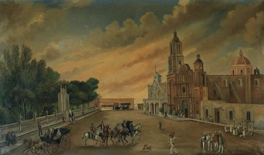 """""""Vista de San Marcos, Aguascalientes"""", Pintura al óleo del francés Léon Trousset, octubre de 1883, colección de la familia Trousset (Fuente: https://tony-trousset.squarespace.com/paintings-1/)"""