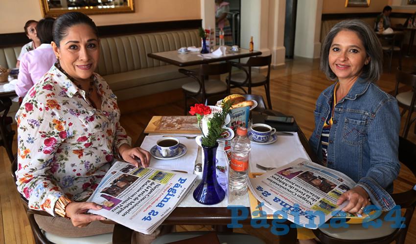 En Sanborns Francia se reunieron Mayela Macías Alvarado, diputada local; y la contadora Karla Isabel Martorell Moya, presidenta de Mujeres Empresarias Mexicanas AC
